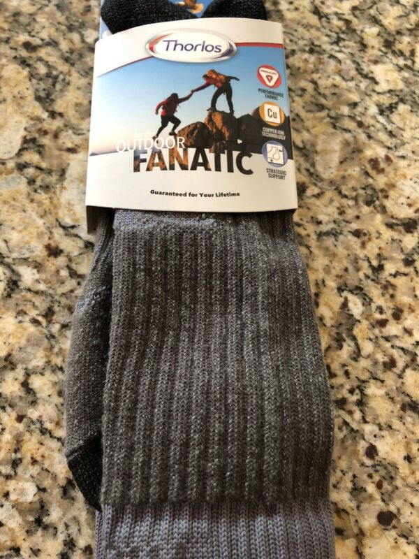 Thorlos Men's Outdoor Fanatic Crew Sock Silver Fox Size XL OFXU15117DIC