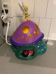 Tinker bell Fairy Disney Lost Treasure AM/FM Radio Clock Alarm Night Light Works
