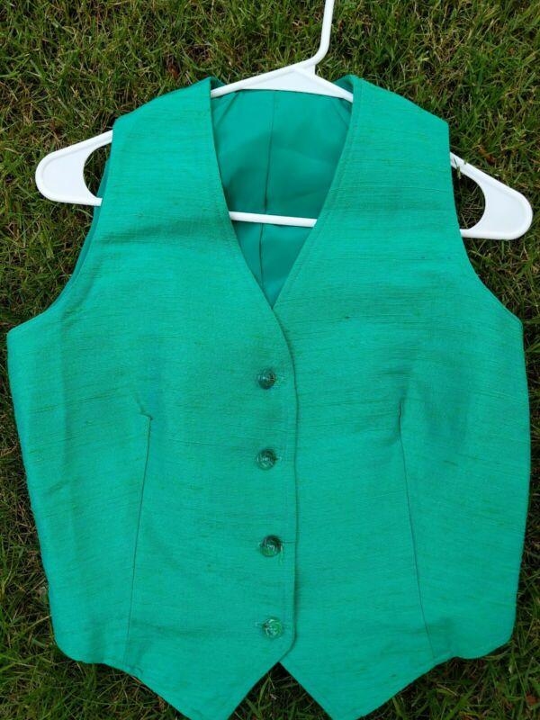 Green linen Saddleseat Vest size 14