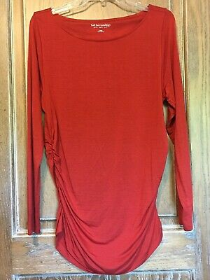 Soft Surroundings Ruched Sides Rust Jersey Tunic Top Shirt sz Large