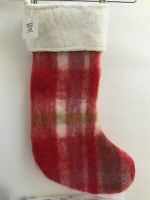 NWT West Elm Large Soft + Fuzzy Wool Christmas Stocking – Red Plaid - Farmhouse ()