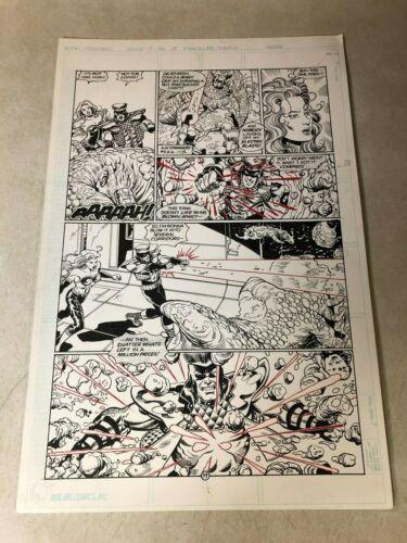 STRANGERS #7 original art 1993 GRENADE ELECTROCUTE detailed BATTLE PAGE