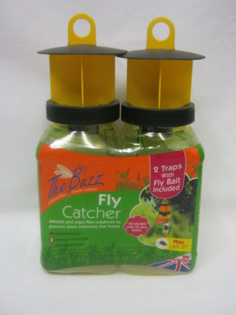 New STV The Buzz Fly Trap Catcher Killer Kills Flies Jars Bottles Pk2 STV336