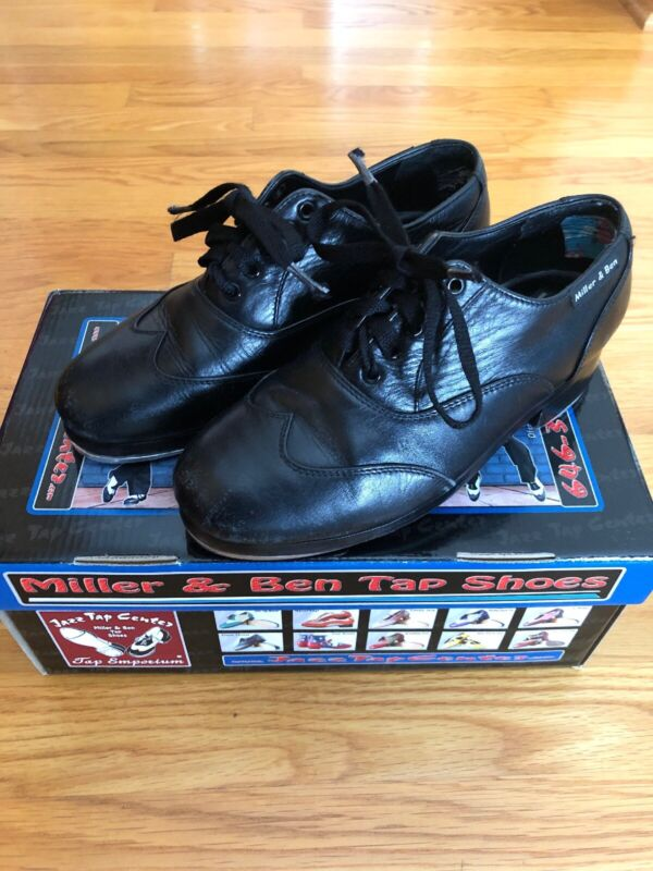 Miller and Ben Tap Shoes: All Black Jazz Tap Master; Size 36 Regular M 4,W 5 1/2