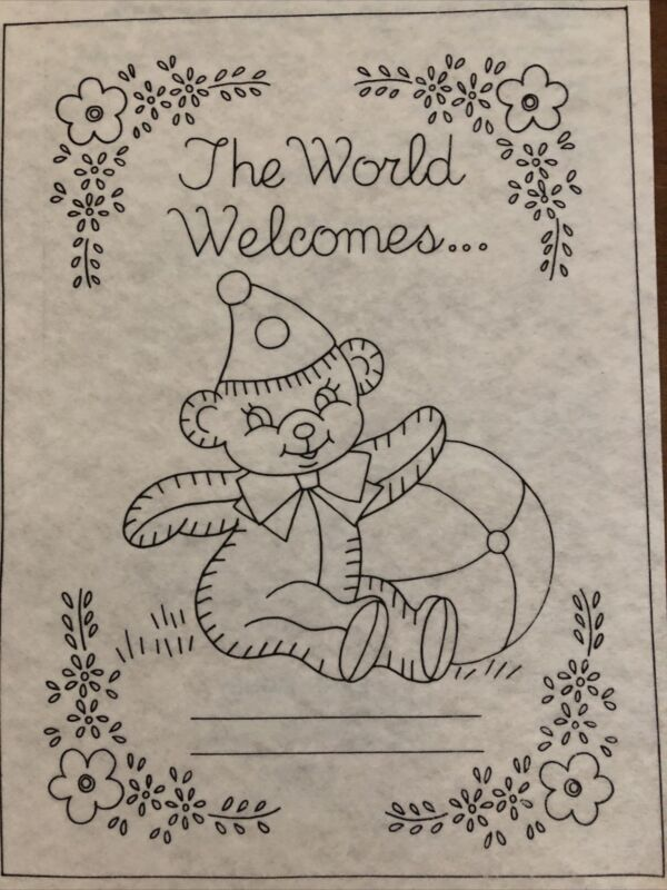 Tri-Chem Liquid Embroidery Picture to Paint Baby Bear Birth Announce #7512