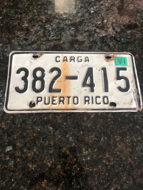 AUTHENTIC PUERTO RICO Cargo Carga LICENSE PLATE CENTRAL AMERICAN CARIBBEAN