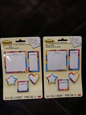 Lot Of 2 Post-it Planner Sticky Notes 5 In 1 Mini Star Heart To Do Lists 3m