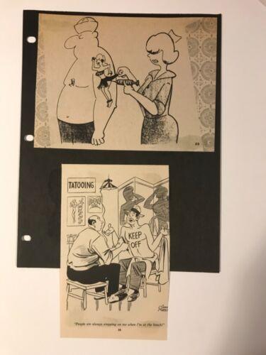 Antique vintage 1960s tattoo fan cartoon magazine clippings