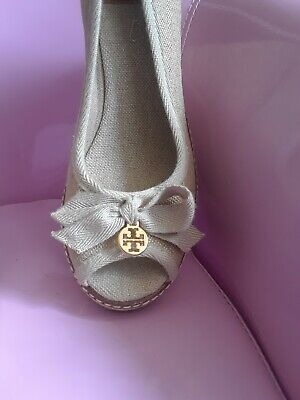NWTs Tory Burch Jackie Wedged Peep Toe Espadrilles Size US 8M Shoes, READ DETAIL