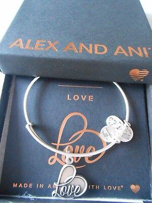 Alex and Ani LOVE IV Expandable Wire Bracelet Rafaelian Silver NWTBC