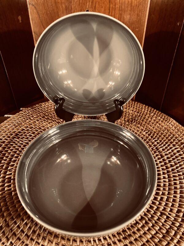 Set (2) Le Creuset Stoneware Cereal Soup Bowls 22 Oz Mist Grey -Imperfect* VGUC