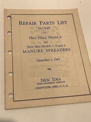Vintage 1947 New Idea Nisco Model 6-9 Manure Spreader Repair Parts List