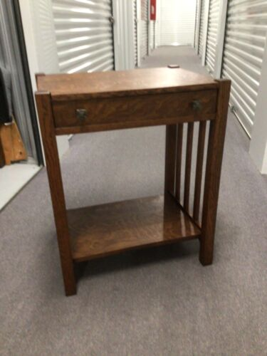 Antique Arts and Crafts Table with Lower Shelf and Drawer
