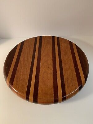 Vintage Large Solid Wood LAZY SUSAN Tableware Centerpiece Storage Two Tone ()