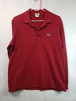 LACOSTE Men's Red long sleeve polo shirt Size 4