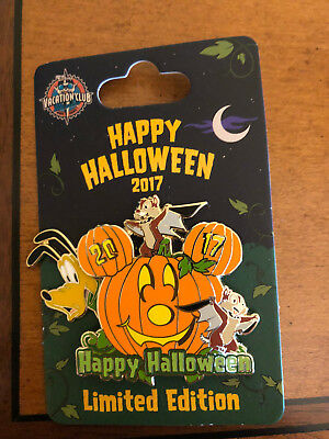 Disney Vacation Club DVC Halloween 2017 LE Pin Chip Dale Pluto Pumpkin New