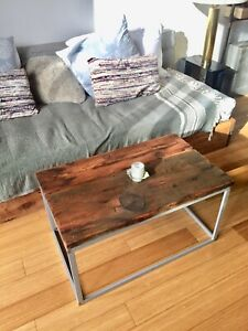 VINTAGE RECLAIMED WOOD COFFEE END SIDE TABLE BARN BOARD