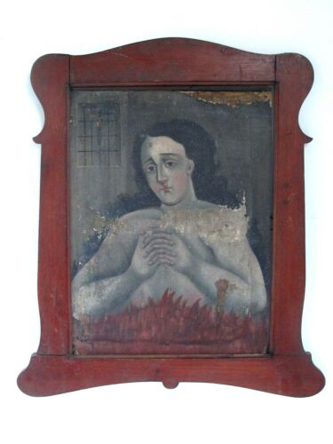Antique Animas Mexican Spanish Colonial Oil Painting Woman in Purgatory