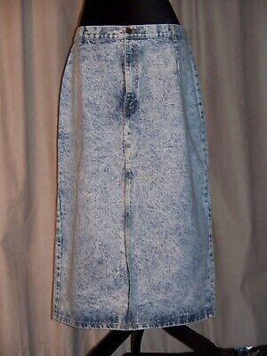 Vintage 80's Acid Washed Denim High Waist Pencil Midi Skirt Waist 35