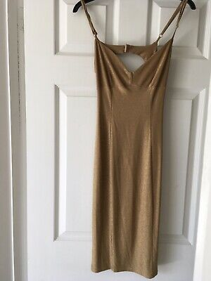 Karen Millen Gold Sparkle  Dress Size 8