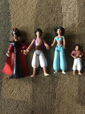 LOT of 4 Aladdin Action Figures Jafar Jasmine Disney Vintage Toy Story Star Wars