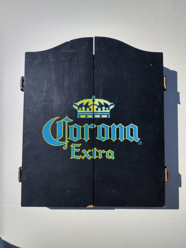 Vtg Corona Extra dart board case w/ sportcraft board