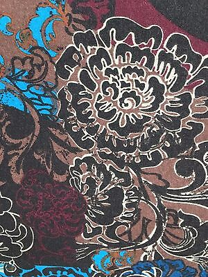 BROWN Printed Floral Cotton Jersey Spandex Knit Stretch Fabric (60 in.) Sold BTY