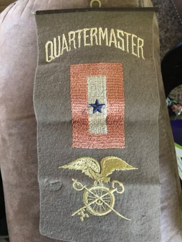 WW1 FELT QUARTERMASTERS SON IN SERVICE WINDOW FLAG w LIB LOAN PINBACK
