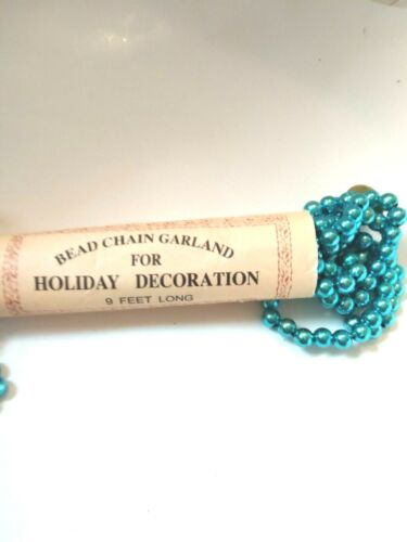 Blue Bead Chain Garland For Holiday Decoration 9 Feet Long Primitives By Kathy