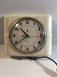 Vintage White Electric Westclox wall clock Belfast S7-A Kitchen Retro WORKS