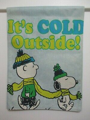 PEANUTS SNOOPY CHARLIE BROWN IT'S COLD OUTSIDE SHARE THE SCARF 13x18 FLAG - NEW