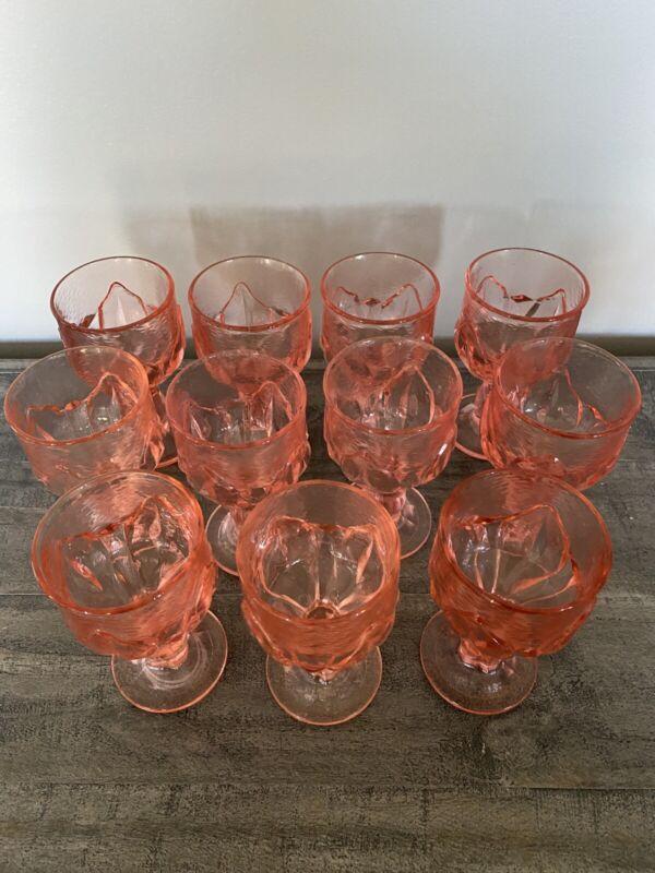 SET OF 11 VINTAGE PINK, TIFFIN CABARET FRANCISCAN WATER WINE GOBLETS 5.5 INCH