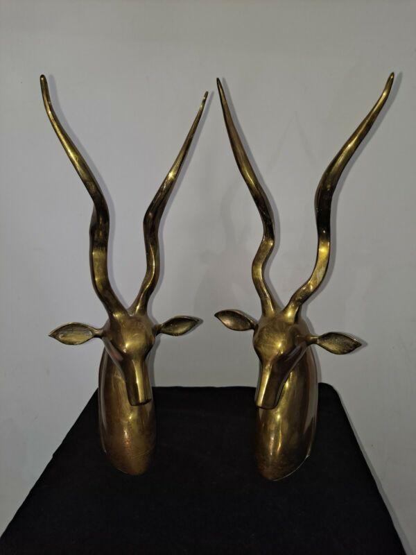 "Tall Brass Antelope Horn Bookends 13"" Vintage"