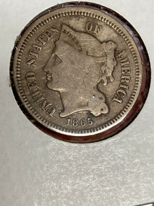 1865 three cent nickel Better Date Nice Coin