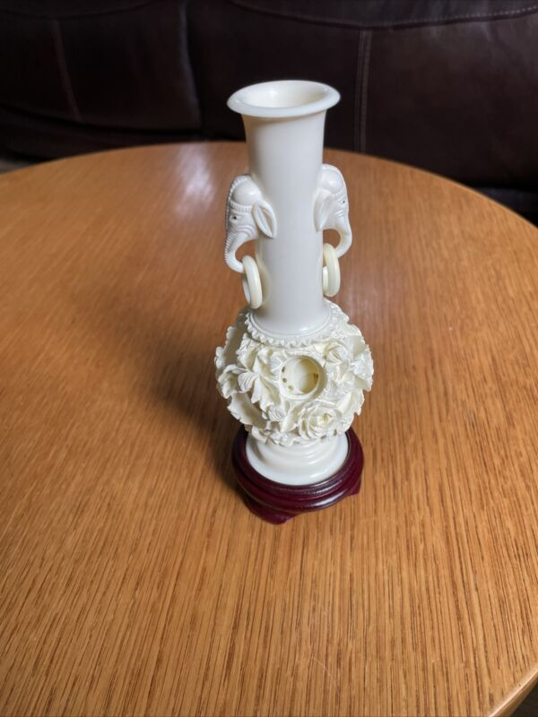 Carved Vase Cream Colored from Taiwan in Original Box