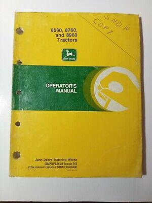 John Deere 8560 8760 8960 Tractor Operators Manuals Omrw25626  K9
