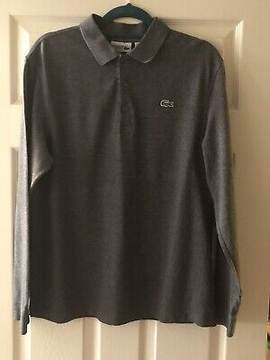 MENS LACOSTE LONG SLEEVE CLASSIC FIT POLO (SIZE - 5 LARGE) IN Dark Grey