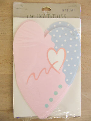 "NEW Hallmark Vintage ""Heart Shaped"" 8 Bridal Shower Invitations w/ Envelopes"