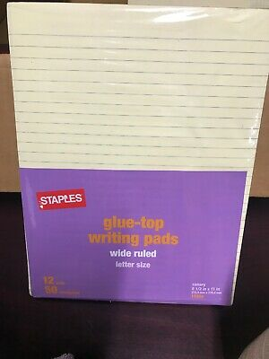 Staples Glue Top Writing Pads Letter Ruled Yellow 8-12 X 11-34 72 Pads