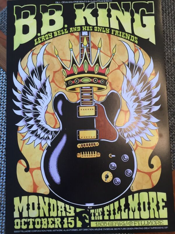B.B.King Fillmore Poster 898 October 15, 2007 Concert Alan Forbes Bill Graham