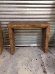 TWO STUNNING  LARGE RATTAN BENCH TABLE Albert Park Port Phillip Preview