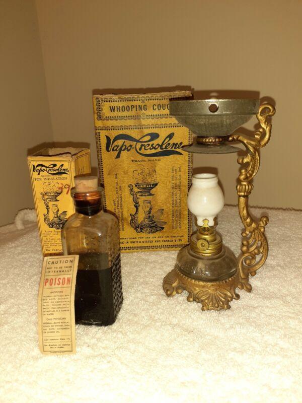 Old 1880s Miniature VAPO-CRESOLENE Vaporizer MEDICINAL KEROSENE LAMP m9