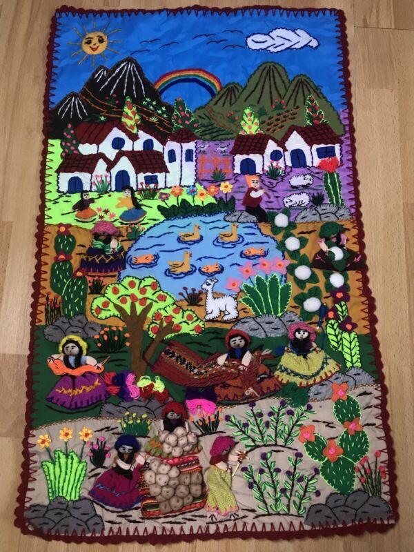 """Applique Quilt wall Mural 20""""x30"""" Arpillera-3D Hand Embroidered Peruvian Village"""