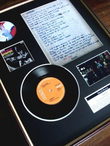 "DAVID BOWIE STARMAN 7"" RECORD SINGLE + HAND WRITTEN FRAMED LYRICS MONTAGE"