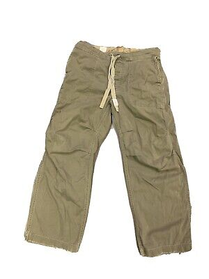 Men's Abercrombie and Fitch Drawstring Distressed Khaki Pants Size 36 X 30