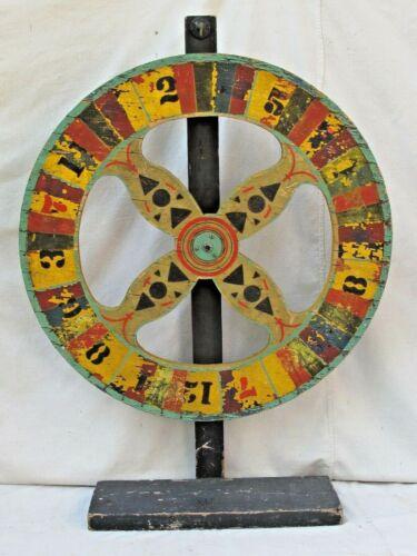 Antique Gaming Wheel of Fortune  American Carnival Folk Art