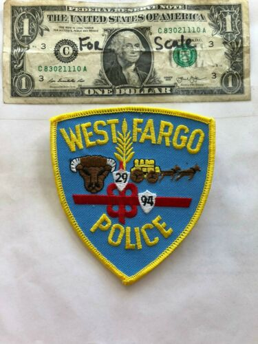 Rare West Fargo North Dakota Police Patch un-sewn in great shape