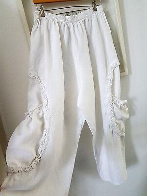 LA BASS breite weiße Damenhose Hose 100% Leinen Sommerhose Gr. L   G54 gebraucht kaufen  Versand nach Germany