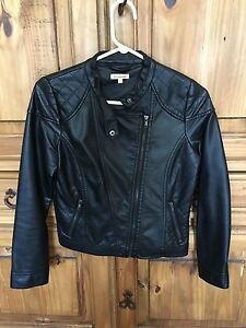 Girls faux leather jacket -- size 12