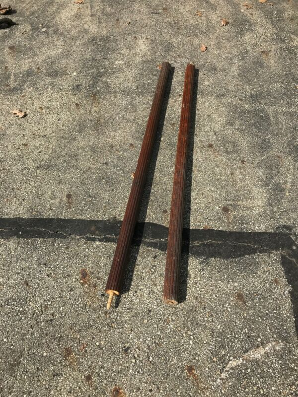 CM Pair Antique fluted wood Columns 65.75 x 2 3/8